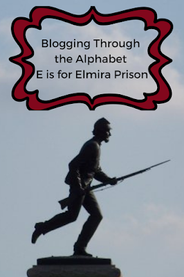 A Mom's Quest to Teach: Blogging Through the Alphabet: E is for Elmira Prison; background photo of soldier statue from Gettysburg