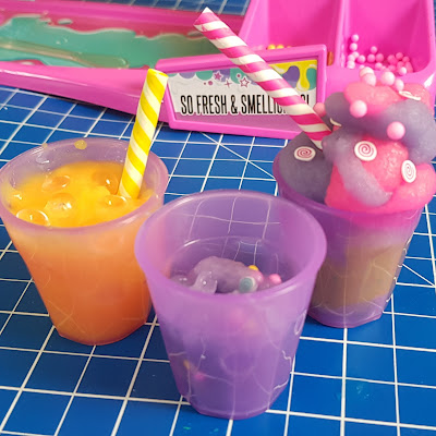 Ice cream cones and smoothies made from slime experiments for children