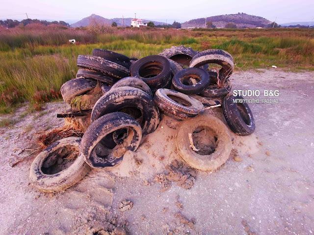 Αργολίδα: 150 λάστιχα αυτοκινήτων έχουν εντοπισθεί στον υγρότοπο Ναυπλίου - Ν. Κίου