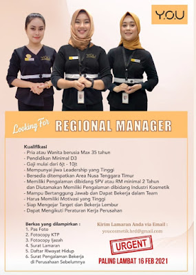 Loker Kupang Regional Manager di YOU Cosmetic and Beauty