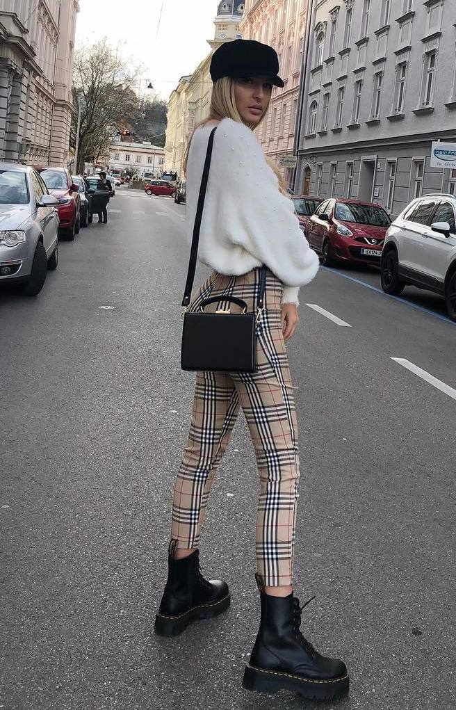 trendy outfit idea with plaid pants : white sweater + hat + boots + bag