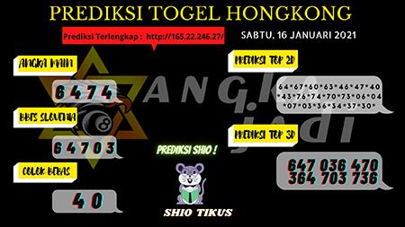 Prediksi Togel Angka Jitu Hongkong Sabtu 16 Januari 2021