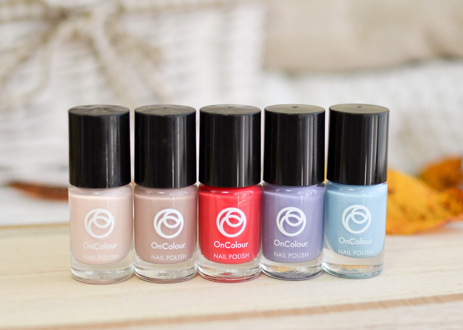 Oriflame OnColour Nail Polishes (Ice Cream Beige, Tasty Nude, Juicy Peach, Candy Lavender, Cloud Blue)