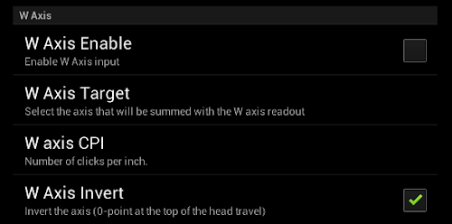 Android DRO W Axis settings