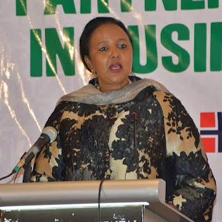 Cs Amina Mohammed in an international trade Meeting in NAirobi. PHOTO | Courtesy