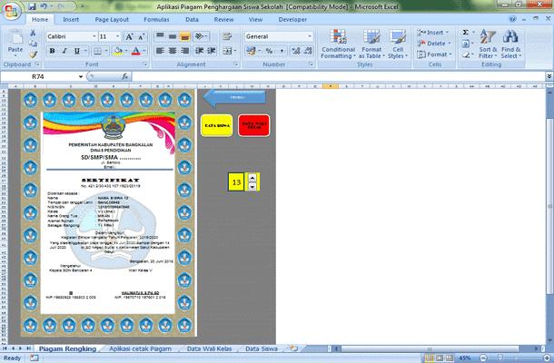 Aplikasi Cetak Sertifikat Piagam Penghargaan Siswa Format Microsoft Excel