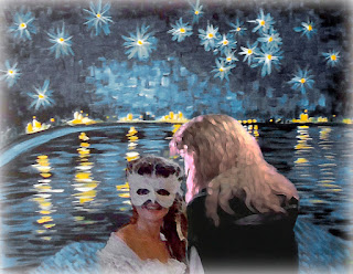 Vincent and Catherine from Masques with van Gogh's Starry Night Over the Rhone (1888)