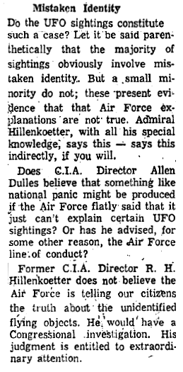 Ex-CIA Chief Wants UFO Probe - Worcester Gazette (Pt 2) 6-1-1960