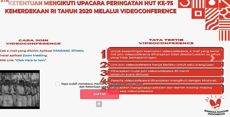 Resmi dibuka! Tata Cara Pendaftaran Upacara Virtual HUT ke-75 RI Melalui situs Pandang Istana