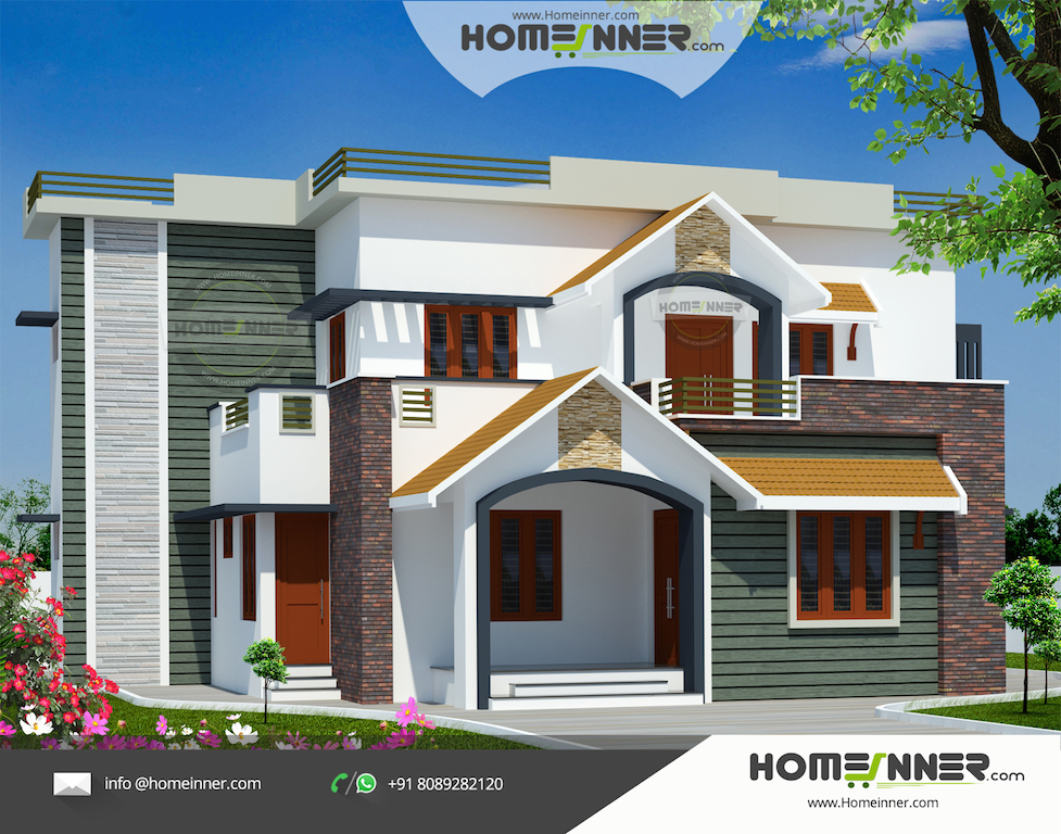 2960 sq ft 4 bedroom indian house design front view indian home design free house plans for Home exterior design india