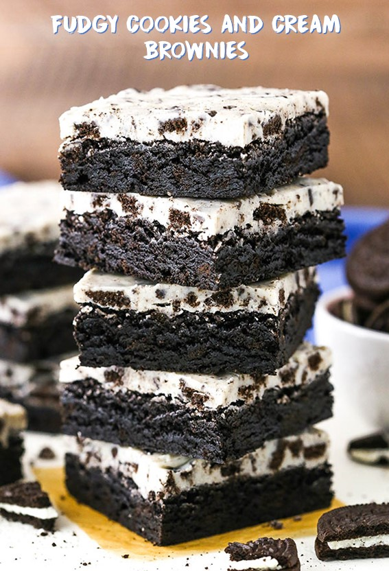 FUDGY COOKIES AND CREAM BROWNIES #Oreo #Fudgy #Brownies #Cookies #Cake