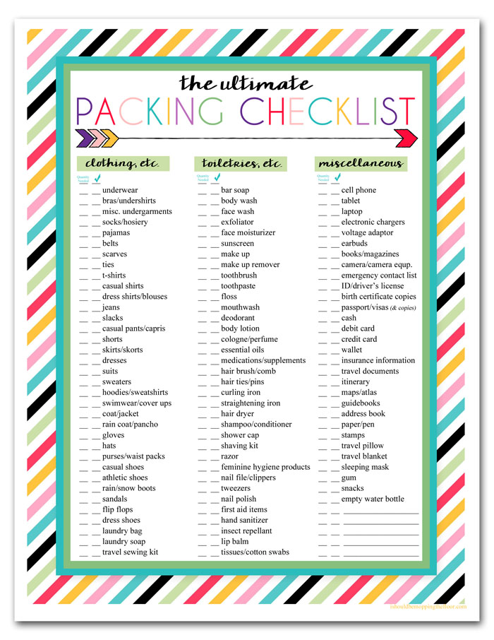 i should be mopping the floor Free Printable Ultimate Travel Checklist - Travel Checklist
