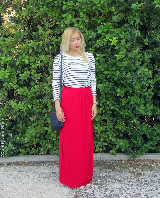 StripedShirt+MaxiSkirt+Espadrilles+CrossbodyBag - Lilli Candy and Style Fashion Blog