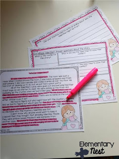 Valentine's Day Fictional Comprehension- February Activities and FREEBIES- activities for primary students- February reading, math, writing, social studies and more! Valentine's Day, Presidents Day, Black History Month, Dental Health Month