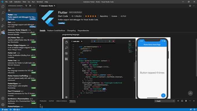 how to install flutter in vscode