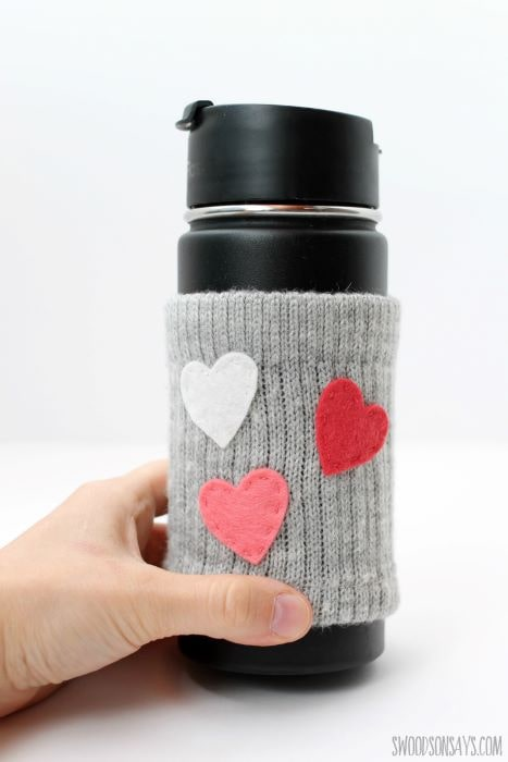 A tutorial on how to make your own coffee cozy using holey socks