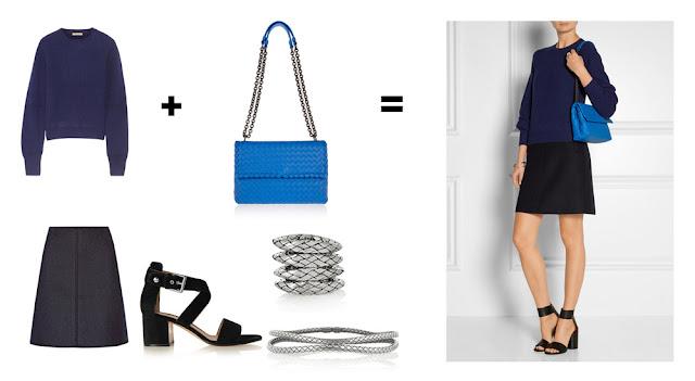 Сочетание синего свитера с синей сумкой