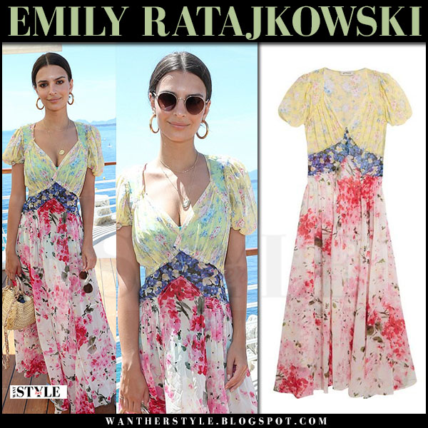 Emily Ratajkowski in floral print maxi dress attico natalia what she wore cannes may 17 2017
