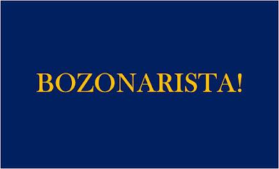 Imagem de fundo azul e caracteres nas cores amarela diz: Bozonarista! partidarista do bolsonaro. Referente ao bozo17 presidente do Brasil e 17 é o numero do partido que o elegeu.