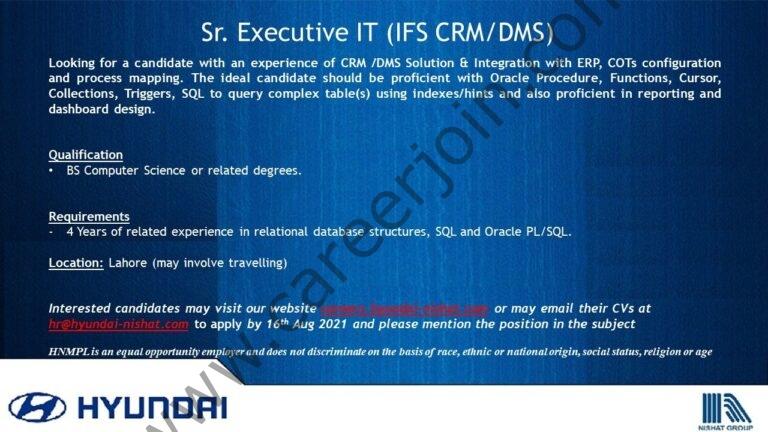 Hyundai Pakistan Jobs 2021 Sr Executive IT