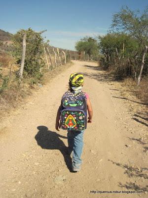 Niña de 5 años comenzando a subir el Cerro del Águila