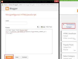 menambahkan script kode revenuehits ke blogger