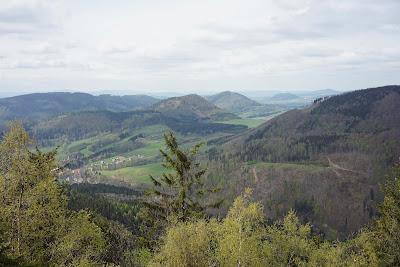 Krajobraz ze szczytu Kostryny: świetnie widoczny wyspowy charakter tej części Gór Kamiennych; w dole po lewej stronie Sokołowsko
