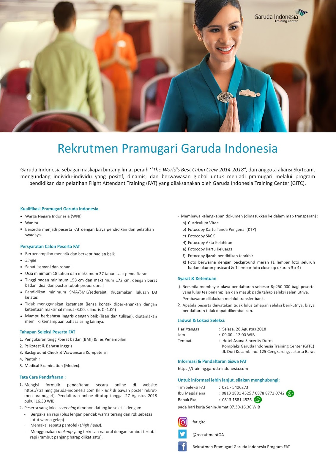 Lowongan Pramugari 2019 : lowongan, pramugari, Rekrutmen, Pramugari, Garuda, Indonesia, Lowongan, Kerja, Bulan, Maret
