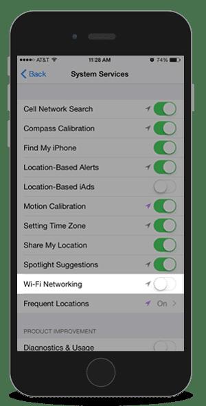 Mematikan layanan lokasi Wifi