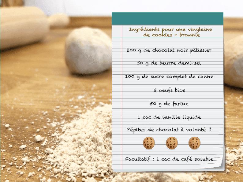 Ingrédients recette cookies brownie