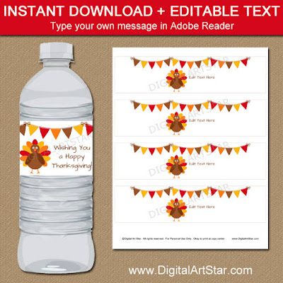 Thanksgiving Water Bottle Label Printable