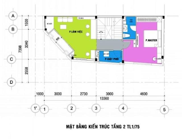 Thiết kế nhà phố đẹp 3 tầng mặt tiền nở hậu