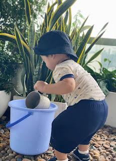Hoa hậu Đặng Thu Thảo khoe ảnh con trai chăm chỉ tưới cây cực đáng yêu.
