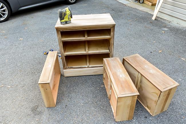 Sanding Goodwill dresser
