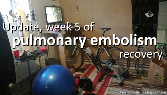 picture of my training room setup, update week 5 of pulmonary embolism recovery