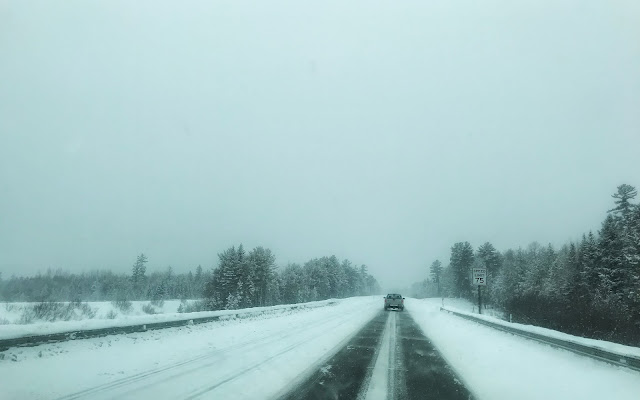 I-95 in northern Maine, covered in snow and ice, only one lane partially cleared