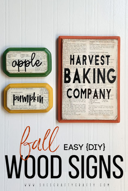 Easy DIY Fall Wood Signs - Harvest Baking Company, apple, pumpkin