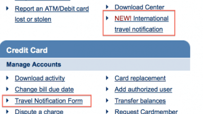 chase credit card international travel notify