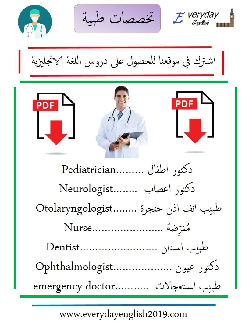 تخصصات طبية بالانجليزي مترجمة Pdf حصريا للتحميل