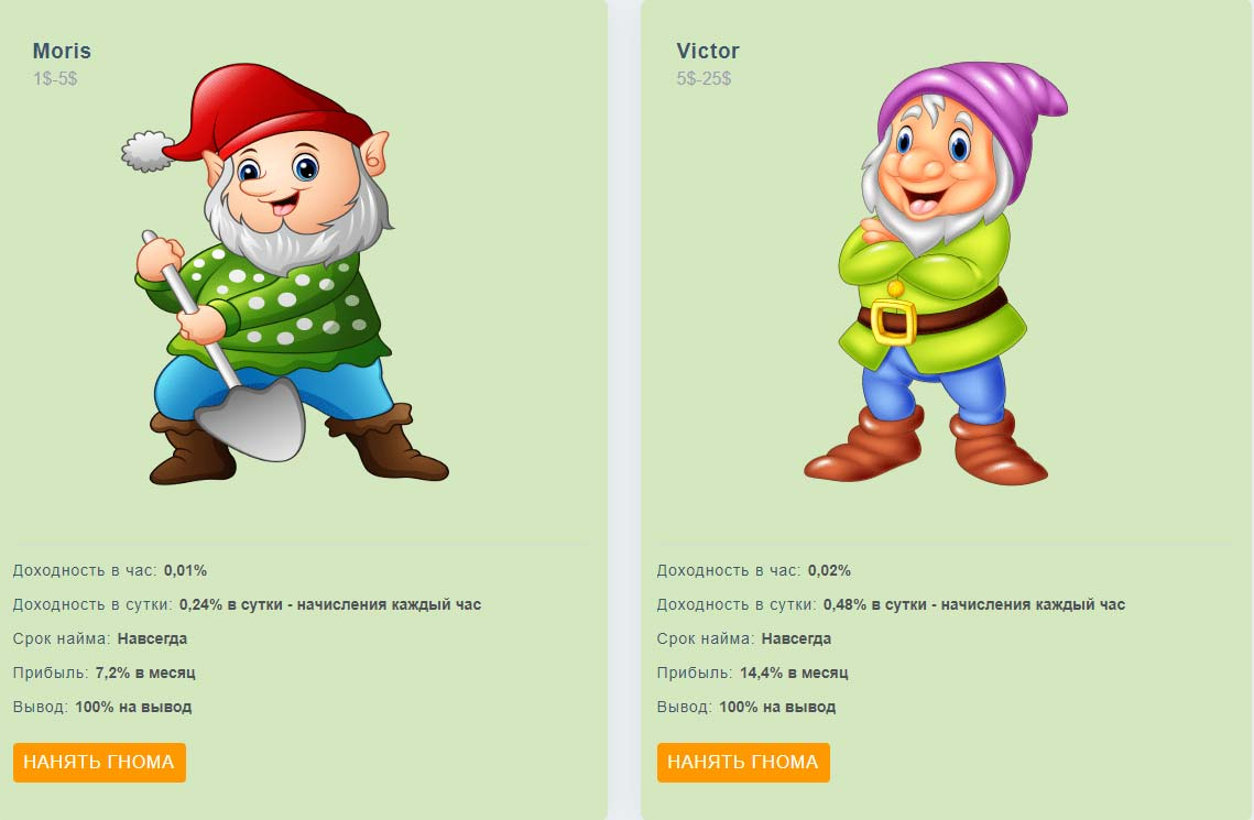 Инвестиционные планы Gnome-Game