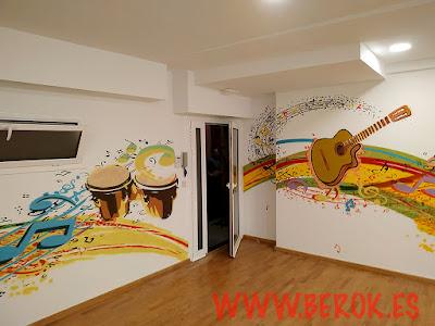 mural guitarra pintado a mano