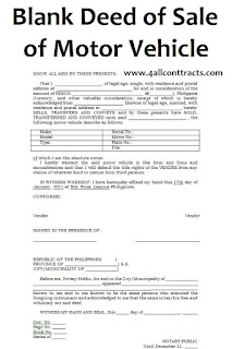 Blank Deed of Sale of Motor Vehicle Template - doc word ...