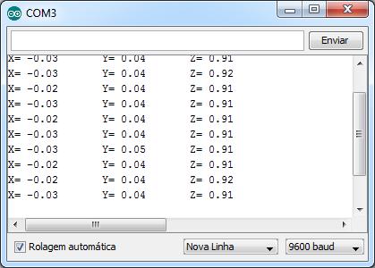 Dados ADXL345 - Serial Monitor
