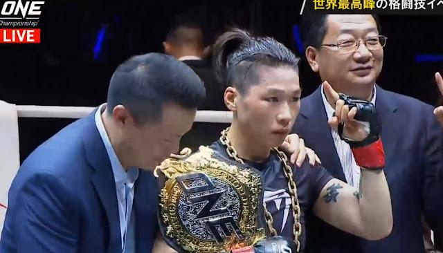 Beyond the horizon Jingnan Xiong (c) def. Samara Santos by TKO, Round 3, 1:22