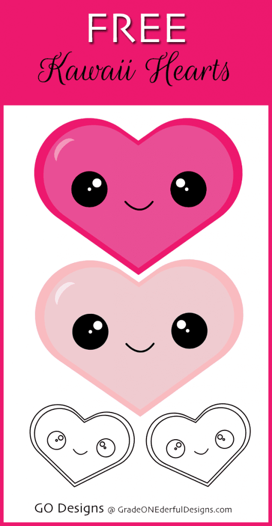 Free Kawaii Hearts Clipart by GO Designs @ GradeONEderfulDesigns.com
