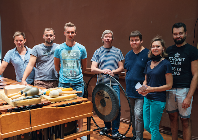 Conductor Andris Poga and the percussionists at the recording session for Tālivaldis Ķeniņš' Concerto for Five Percussionists
