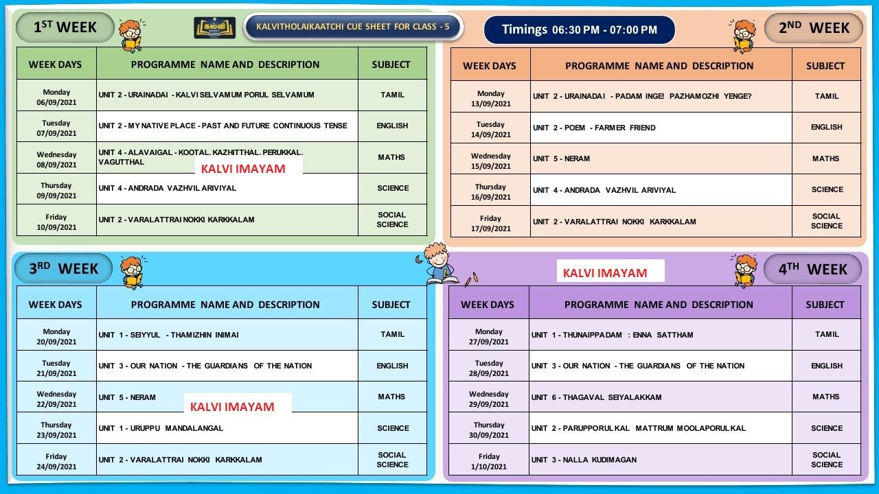 5th Standard September Month Kalvi TV Time Table