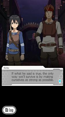 Trzeci screen z gry Sword Art Online: Memory Defrag - Rozmowa Kirito z Kleinem na początku gry
