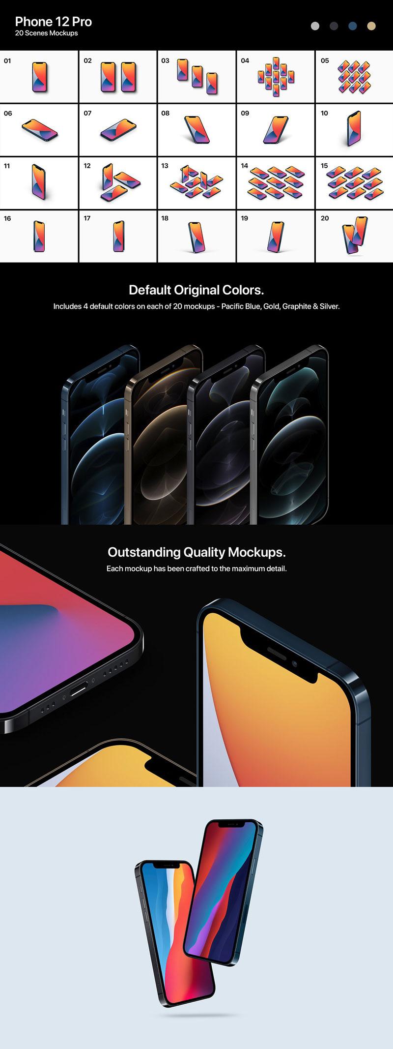 CreativeMarket Phone 12 Pro 20 Mockups Scenes 5587723