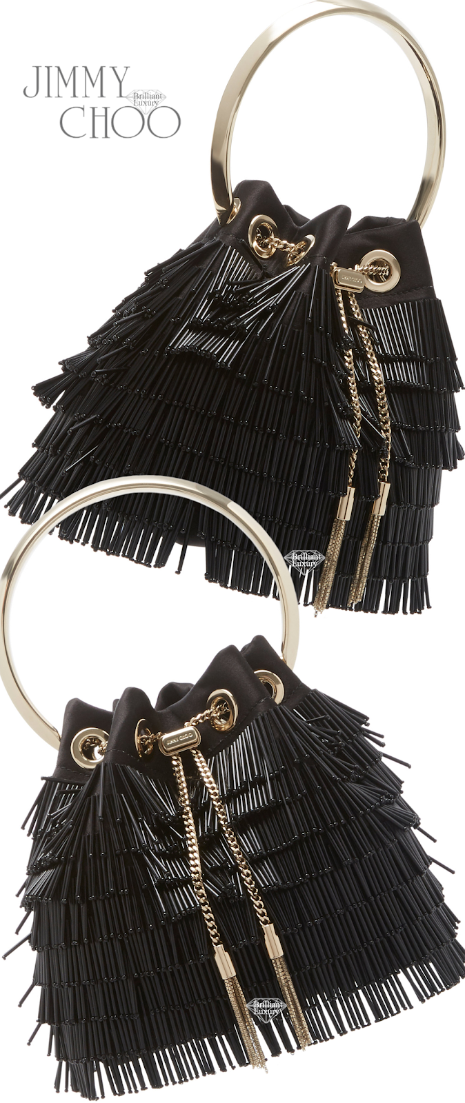 Jimmy Choo Bon Bon Fringed Black Crystal-Embellished Satin Bag #brilliantluxury